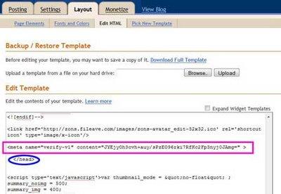 memasang kode html dari google webmaster